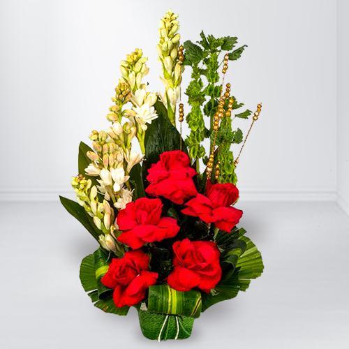 Blushing Arrangement of Red Roses n White Tube Roses