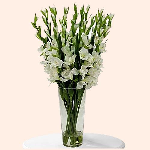 Mesmerizing White Gladiolus in a Glass Vase