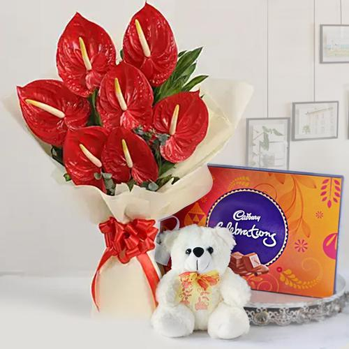 Wonderful Anthodium Bouquet, Chocolates n Teddy Gift Combo