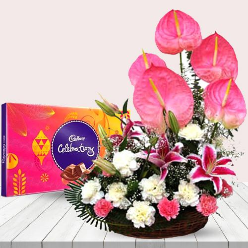 Exclusive White N Pink Flowers Arrangement with Chocolates