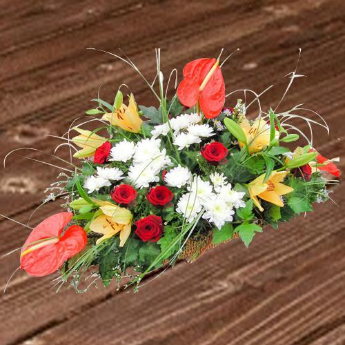 Premium Flat Table Arrangement of Mixed Flowers