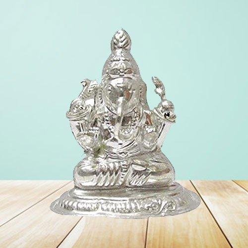 Divine Silver Ganesh Idol