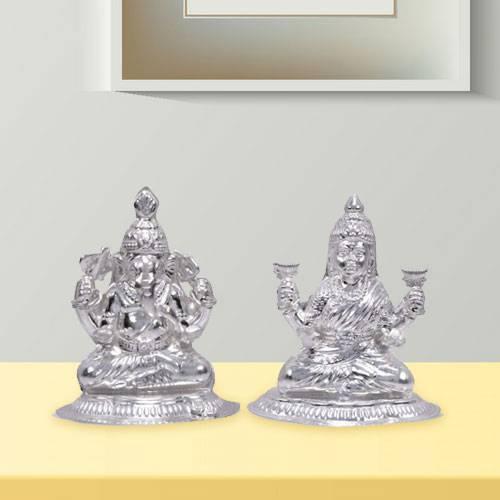 Amazing Silver Laxmi Ganesha
