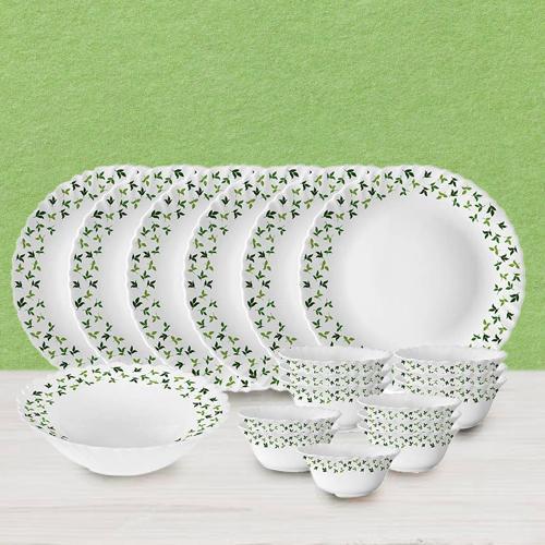 Breathtaking Larah by Borosil Sage Silk Series Dinner Set