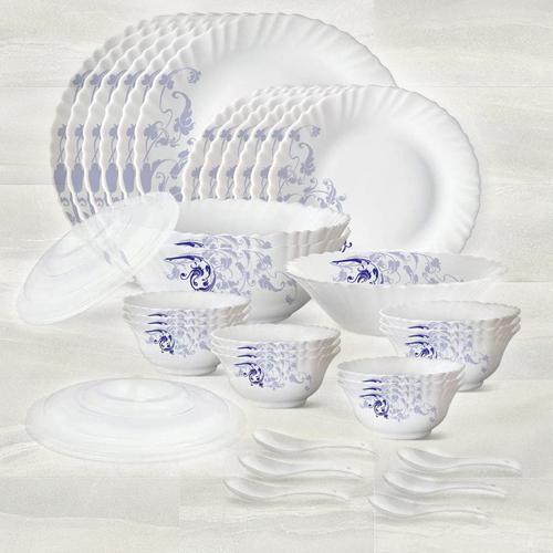 Marvelous Larah by Borosil Blue Eve Silk Series Dinner Set