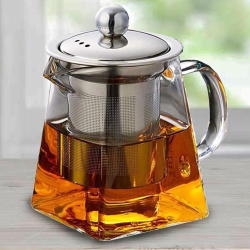Exclusive Octavius Pyramid Shape Borosilicate Glass Teapot
