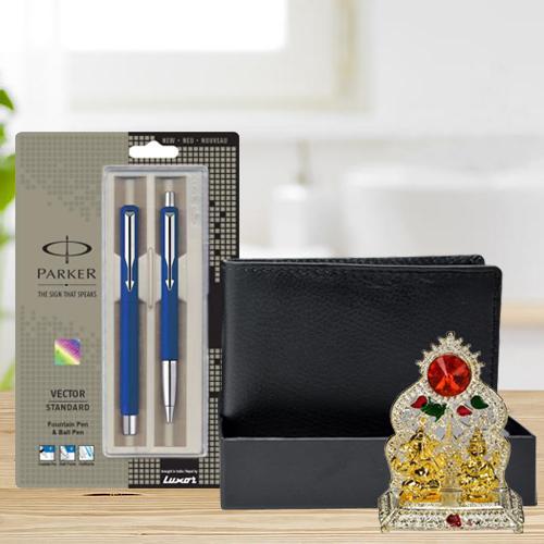 Elegant Parker Pen Set with a Rich Borns Black Leather Wallet n Laxmi Ganesh Mandap