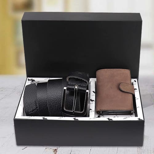 Alluring Hide and Skin Mens Leather Card Holder and Formal Belt