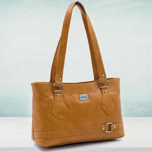 Fashionable Tan Leather Ladies Vanity Bag