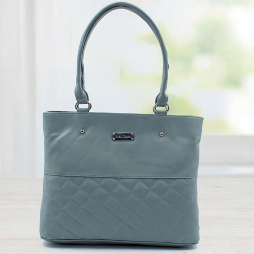 Wonderful Gray Color Leather Vanity Bag for Women