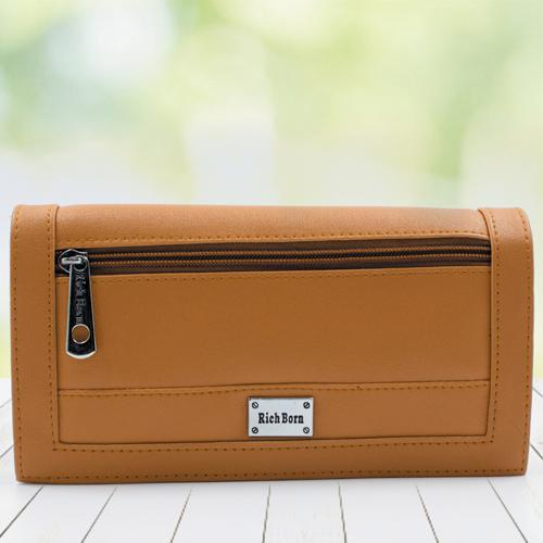 Stylish Tan Color Leather Vanity Bag for Women