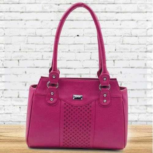 Attractive Pink Color Leather Vanity Bag for Ladies