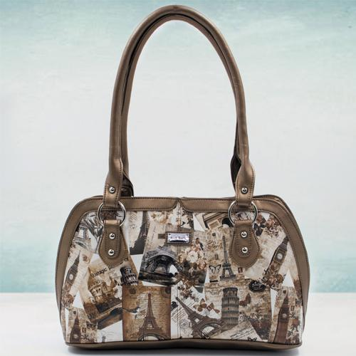 Remarkable Beige Color Leather Vanity Bag for Ladies