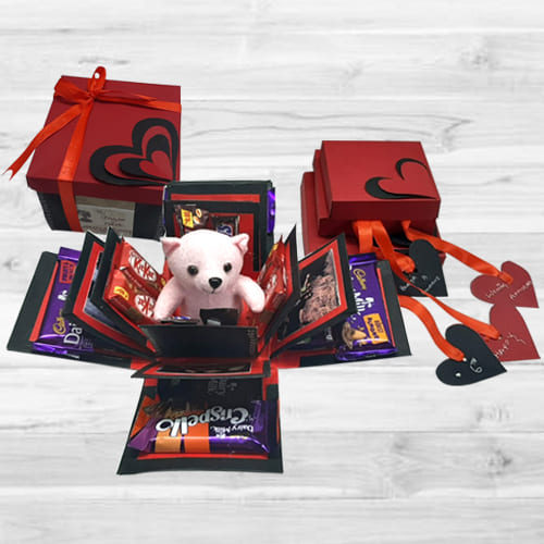 Appealing Personalized Explosion Box of Chocolates, Photos n Heart Messages
