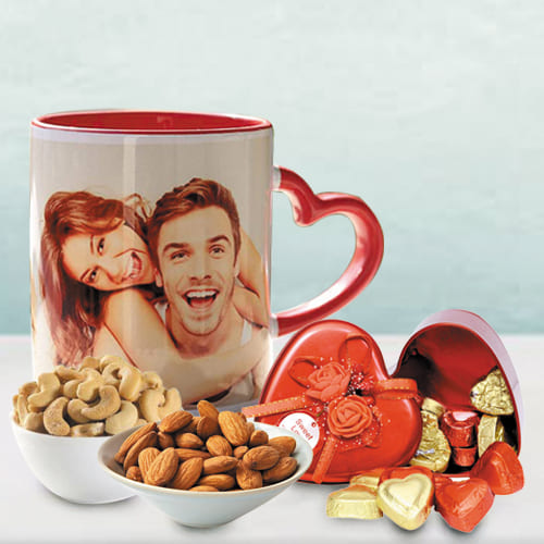 Lovely Personalized Photo Mug n Heart Chocolates with Dry Fruits