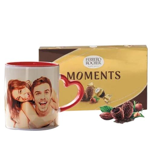 Amazing Personalized Photo Mug with Heart Handle n Ferrero Rocher
