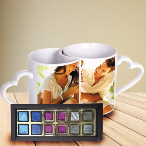Amusing Personalized Heart Handle Couple Mug with Handmade Fruity Chocolates