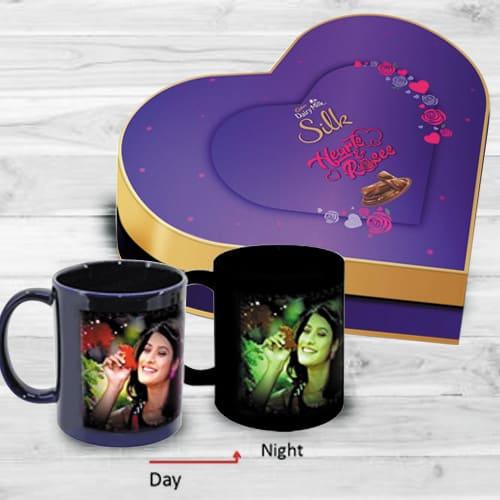 Admirable Personalized Photo Radium Mug n Heart Chocolate Box