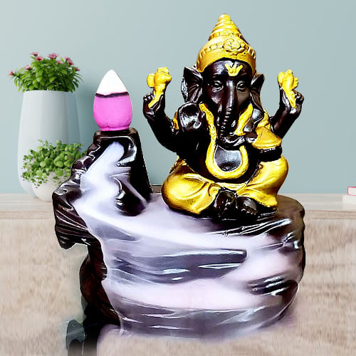 Exquisite Lord Ganesh Smoke Backflow Cone Incense Showpiece