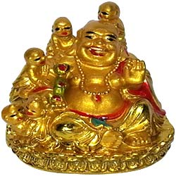 Cute little Laughing buddha with child