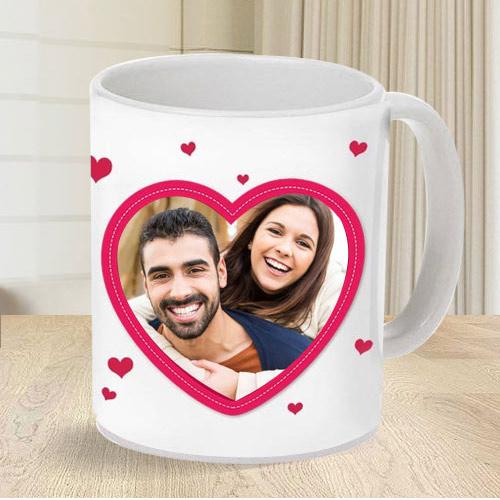 Lovely Personalized Heart Shape Photo Coffee Mug