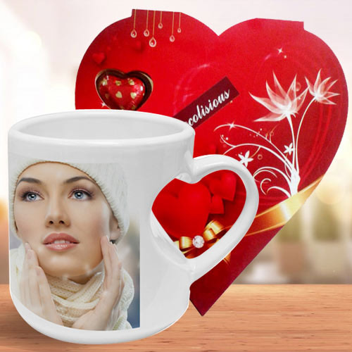 Exclusive Personalized Coffee Mug with Heart Shape Handle n Heart Shape Homemade Chocolate