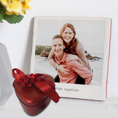 Amazing Personalized Photo Tile with Heart Shape Hand Made Chocolates