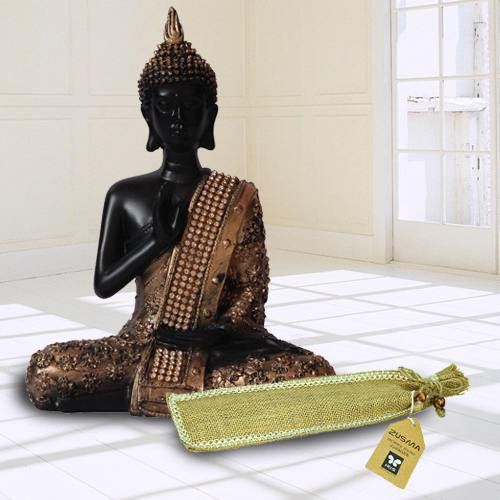 Exclusive Meditating Lord Buddha Idol N Incense Stick in Ash Catcher