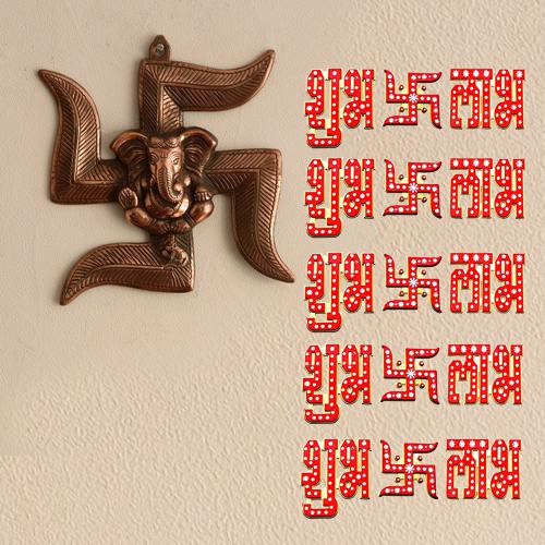 Amusing Ganesha Wall Hanging, Shubh Labh N Swastik Wall Sticker