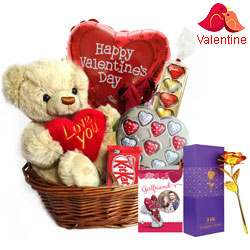 Cute Teddy Surprise with Heart Shape Chocolate for Valentines Day<br>
