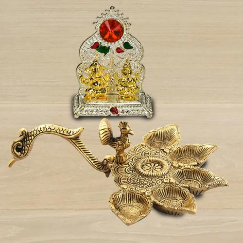 Exclusive Antique Diya with Ganesh Laxmi Mandap<br>