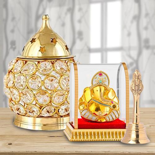 Exclusive Akhand Diya with Ganesh Idol N Ganti
