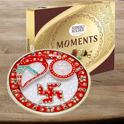 Marvelous Designer Pooja Thali with Ferrero Rocher