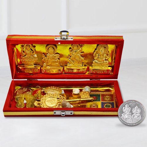 Auspicious Shri Dhan Laxmi N Kuber Bhandari Yantra with Free Coin