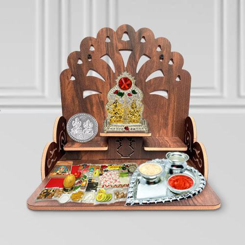 Divine Combo of Wooden Temple N Pooja Essentials