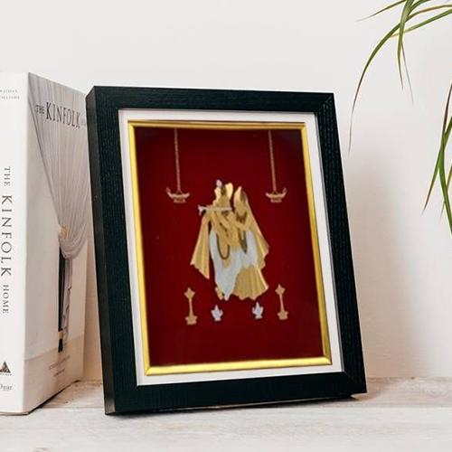 Amazing Gold Plated Radha Krishna Photo Frame