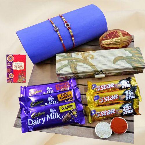 Beautiful Stone Rakhi Set N Assorted Chocolates in Eco-friendly Box