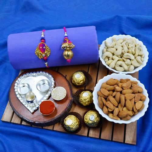 Classy Bhaiya Bhabhi Rakhi with Pooja Thali, Dry Fruits n Ferrero Rocher