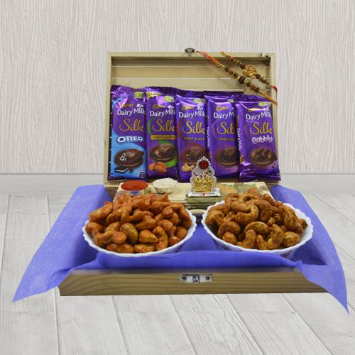 Pious Rakhi Set with Mandap, Assorted Chocolates N Flavor Cashews