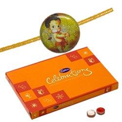 Celebration Chocolate Pack with Kids Rakhi and Roli Tilak Chawal