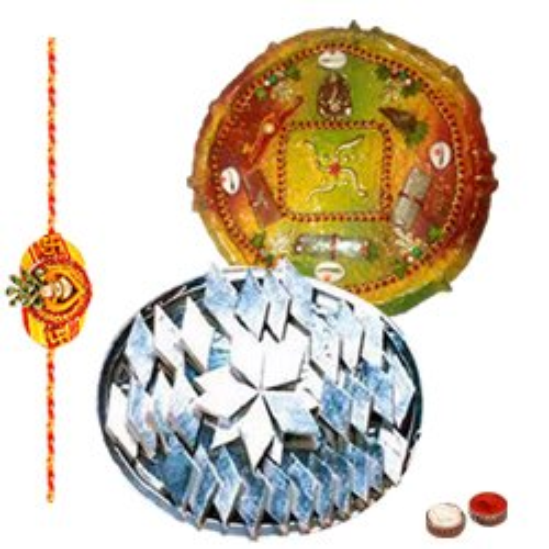 Wholesome Special Pack of Kaju Katli from Haldiram and Rakhi Thali with Free Rakhi, Roli Tilak and Chawal on the Occasion of Rakhi