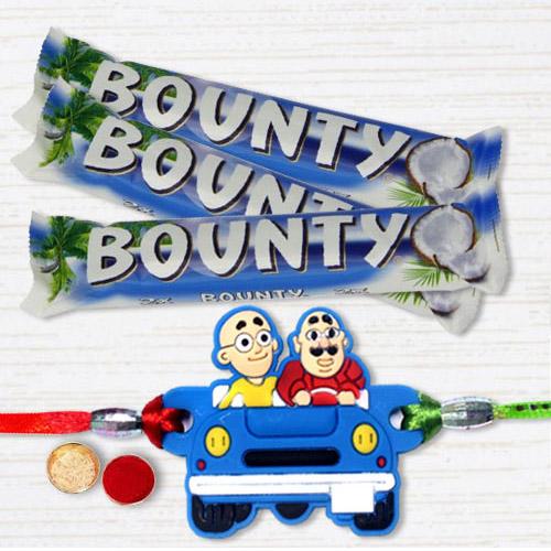 Admirable Motu Patlu Rakhi with Bounty Chocolates