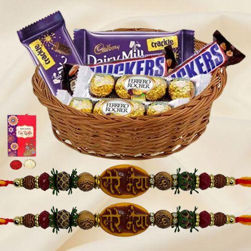 Assorted Chocolates with Mere Bhaiya Rakhi Pair