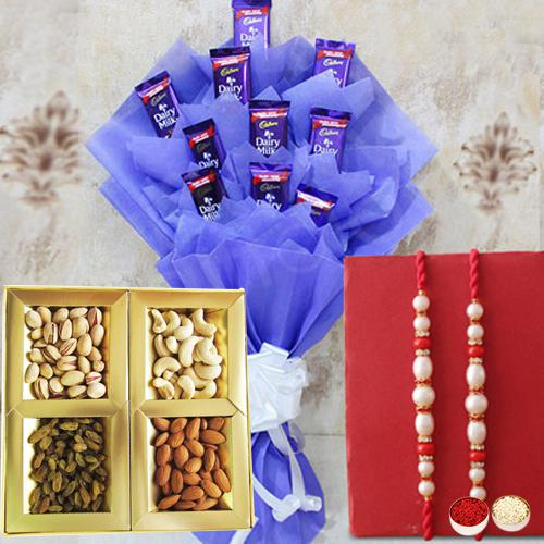 Send Cadbury Chocolates Bouquet with Twin Rakhis