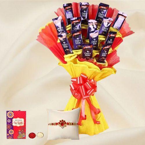Sending Cadbury Chocolates Bouquet with Rakhi to India