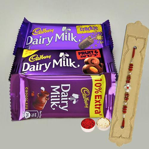 Assorted Cadbury Chocolate Pack with Rakhi