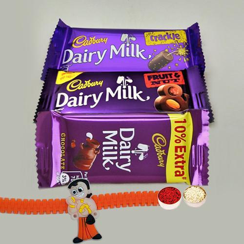 Assorted Cadbury Chocolate Pack with a Kids Rakhi
