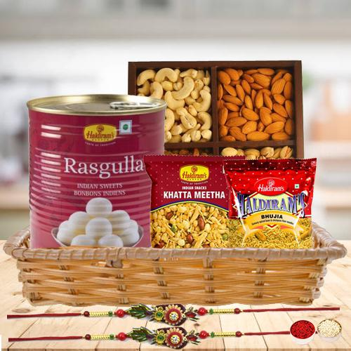 Sweets N Savory Rakhi Gift Hamper With 1kg Haldiram Rasgulla