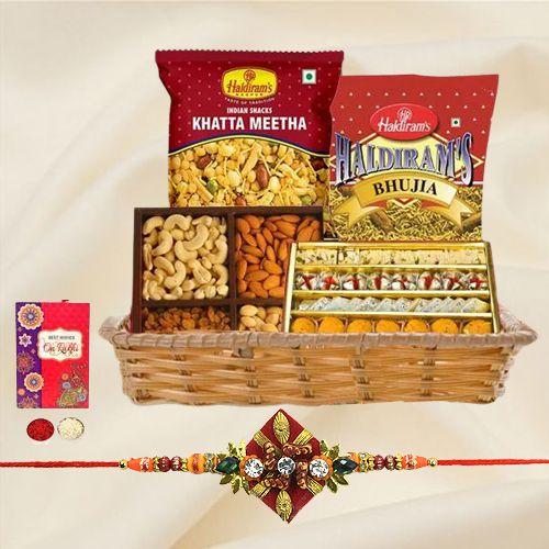 Appealing Rakhi Delicacies in a Basket