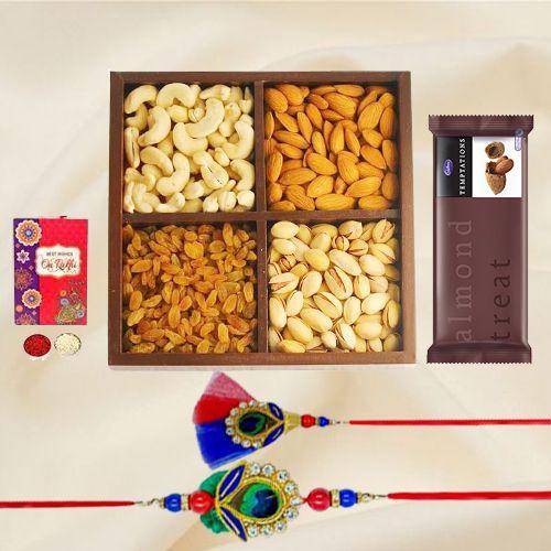 Classy Bhaiya Bhabhi Rakhi Set with Dry Fruits n  Cadbury Temptations